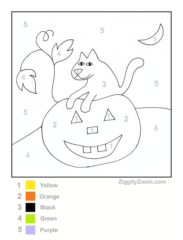 halloween color by number printable national kindergarten readiness. Black Bedroom Furniture Sets. Home Design Ideas