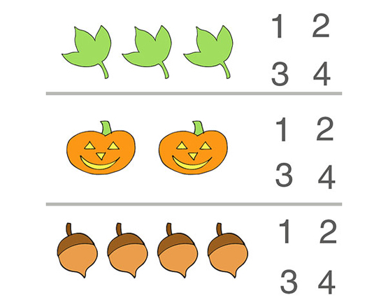 Fall Counting Preschool Worksheet