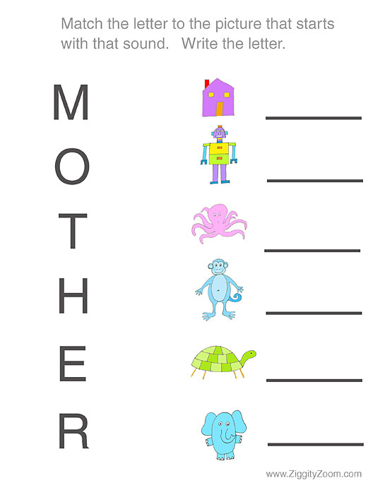 Mothers Day preschool worksheet