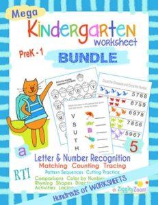 kindergarten worksheet mega bundle